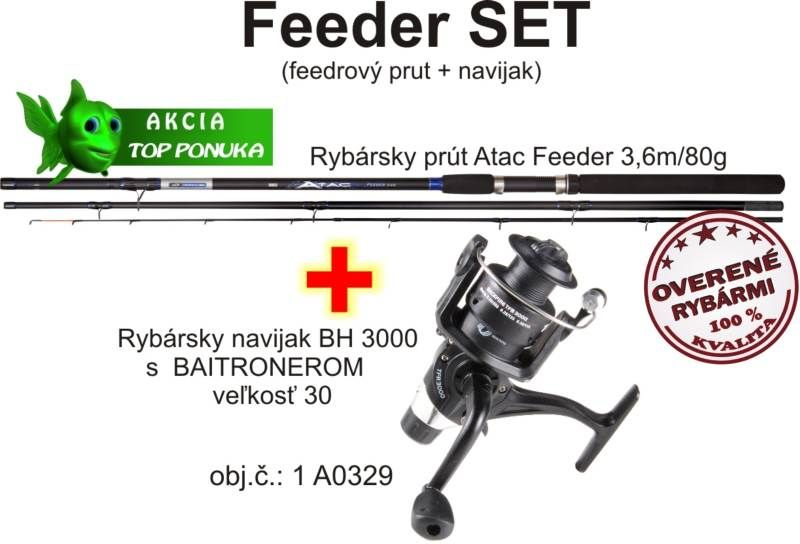 Akce feeder 3,6m / 80g + feeder baitrunerový naviják AKCIE