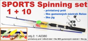 SPORTS Spinning set 1 + 10 prut a 5ks nástrah + jigy