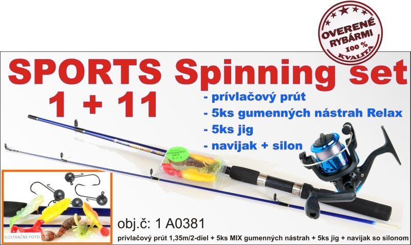 SPORTS Spinning set 1 + 11 prut + nástrahy + jigy + naviják AKCIE