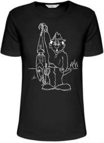Rybářské tričko - rybář vláčkař s wobblerem L