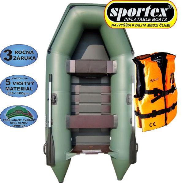 AKCE - Člun Sportex Shelf 290 zelený + záchranná vesta
