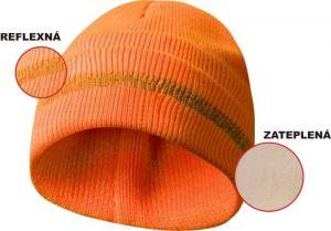 Zateplená čepice s reflexním páskem - oranžová Ostatní