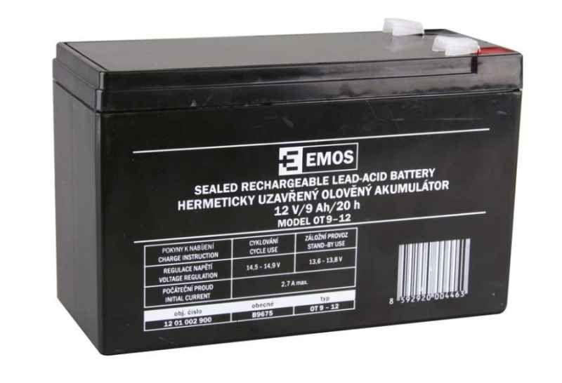Olověný nabíjecí akumulátor 12V / 9Ah faston 6,3mm