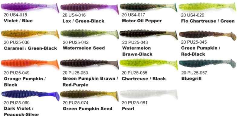 Dipované umělé nástrahy FishUP U-Shad 101mm / 8ks Green Pumpkin Seed