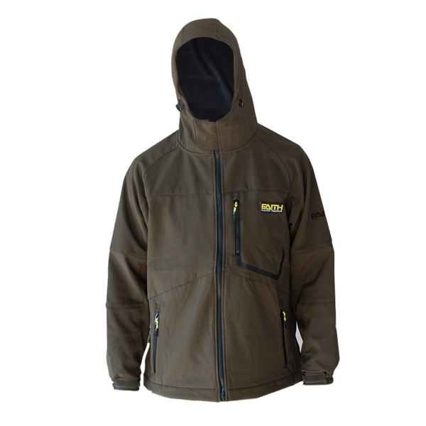 Softshell bunda s kapucí FAITH - olivová barva L