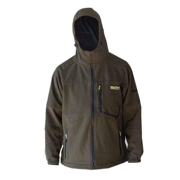 Softshell bunda s kapucí FAITH - olivová barva XXXL