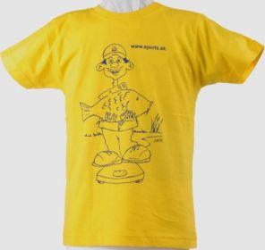 Tričko dětské Rybář váží kapra žluté č.5(5-6roků)