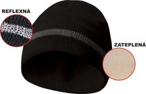 Zateplená čepice s reflexním páskem - černá