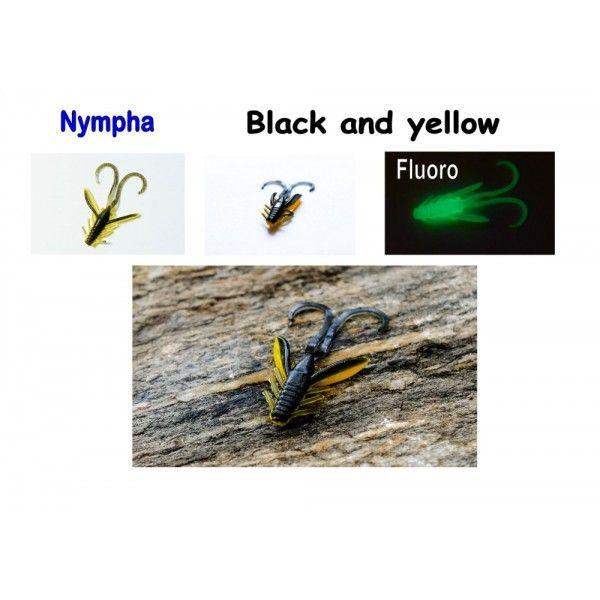 Nympha, 40 mm, 0,9 g Varianta: Orange with black glitter Sharpfishes