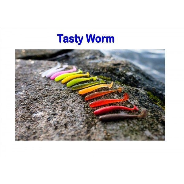 Tasty Worm, 50mm, 0,8g Varianta: Matte red with black glitter Sharpfishes